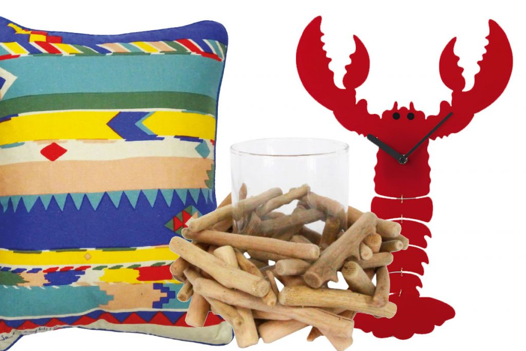 patterned-cushion-lobster-clock-and-driftwood-candle