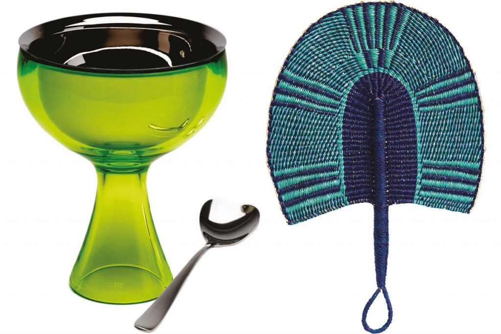 Big Love ice cream bowl in green bud and ice cream spoon by Miriam Mirri, £35, Alessi
