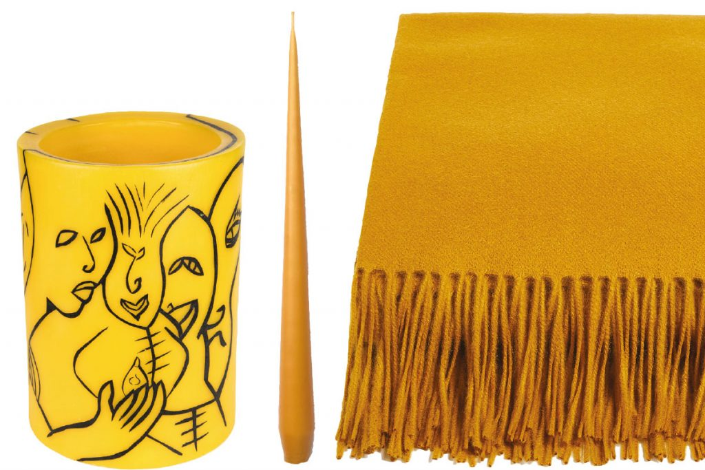yellow-vase-candle-and-throw
