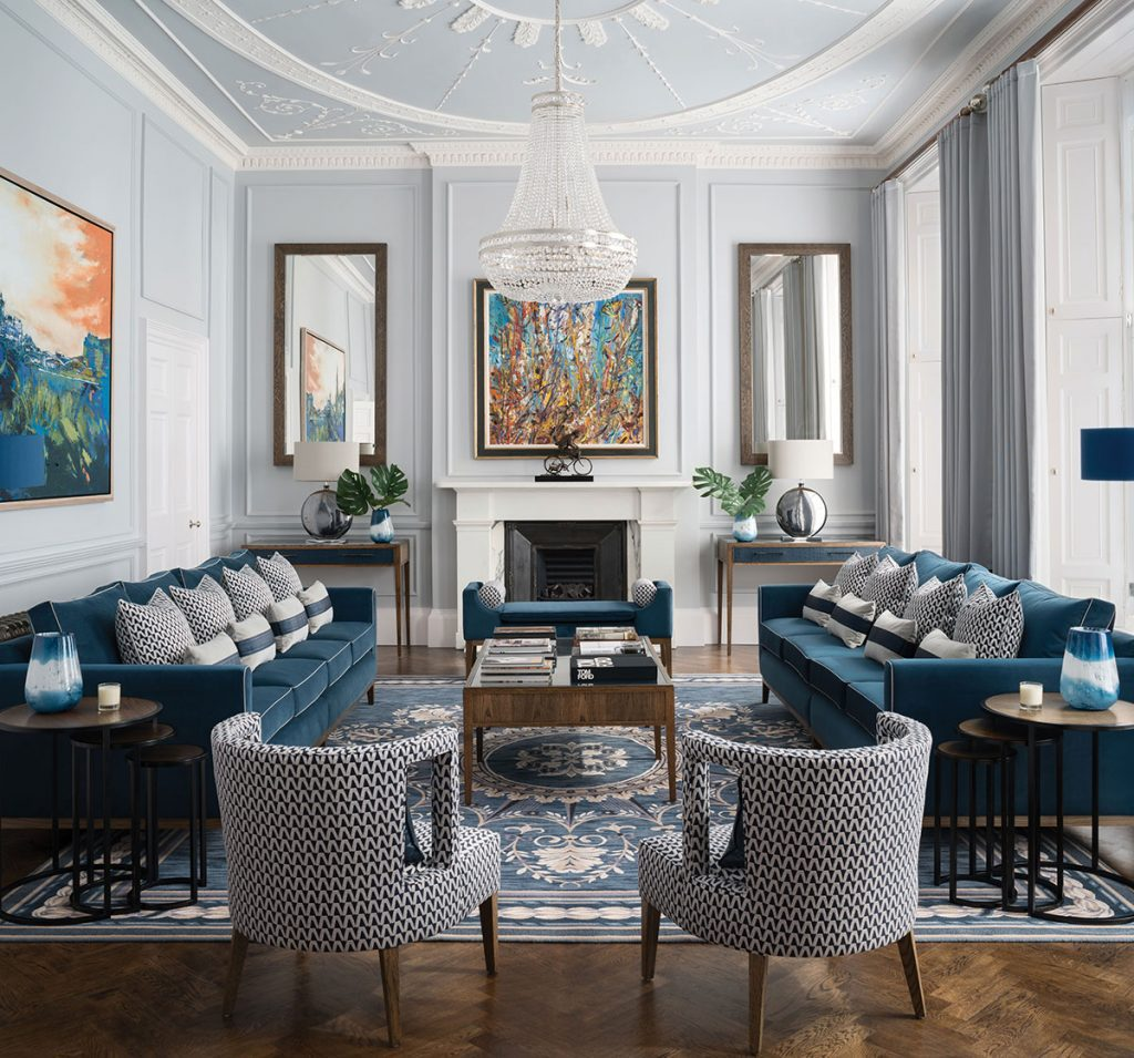 blue-living-room-with-intricate-ceiling