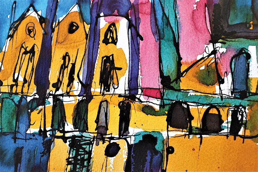 Victoria-Street,-Edinburgh,-ink-on-paper