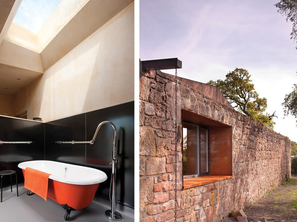 black-and-orange-bathroom-and-side-wall-of-conversion