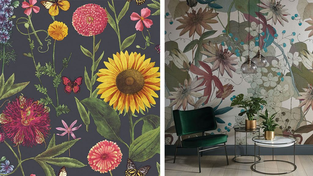 floral-wallpaper-on-navy-with-green-chair