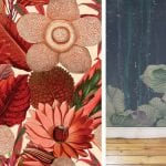 red-floral-paper-and-navy-wallpaper-with-large-flower