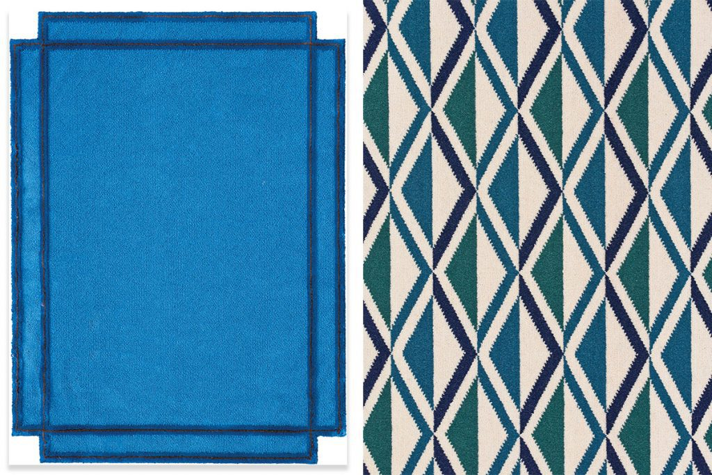 blue-rug-and-chevron-patterned-rug