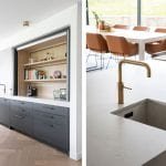 kitchen-with-grey-cupboard-and-orange-chairs