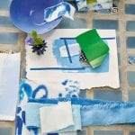 moodboard-brings-together-flowers,-crockery-and-fabric-in-harmonious-shades-of-blue-and-green
