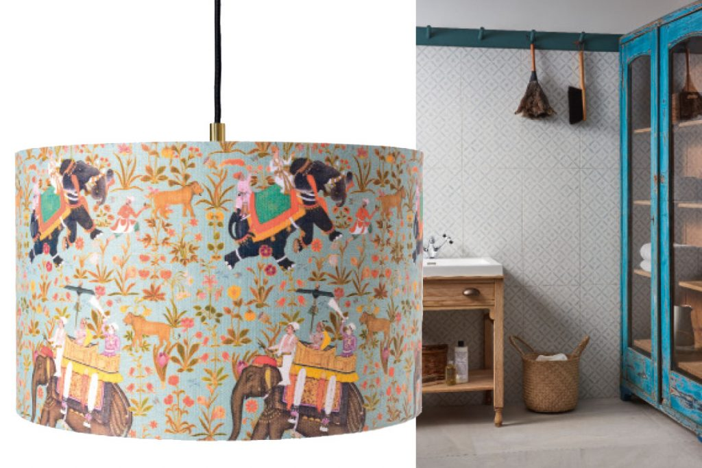 patterned-wallpaprt-and-elephant-print-lampshade