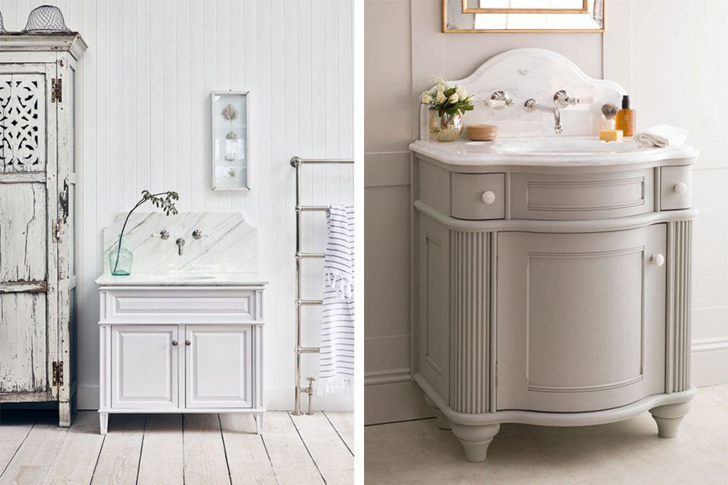 FOSTER_HOUSE_PYRFORD_SINGLE_VANITY_UNIT_PAINTED_IN_ARABASCATO_MARBLE_WITH_WALL_MOUNTED_TAPS_5561-and-LA_PARISIENNE_SINGLE_VANITY_UNIT_PAINTEDWHITE_ARABASCATO_MARBLE_ANGLED