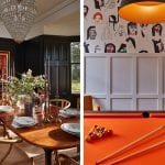 dark-dining-room-with-wooden-chairs-and-orange-snooker-table