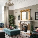 lounge-with-chandelier-and-patterned-sofa