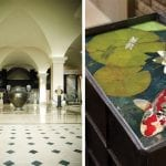 marble-hallway-and-koi-fish-in-stone-on-table