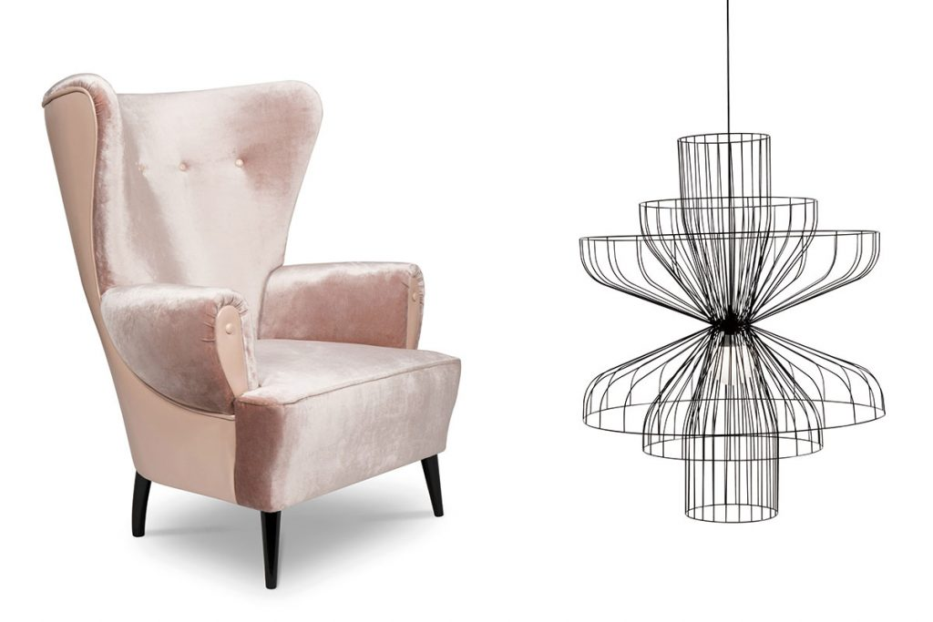 pink high back armchair and black minimal line reset pendant light