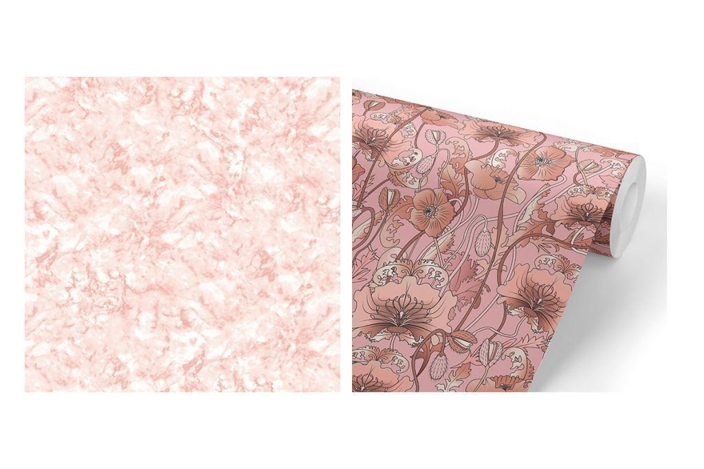 pink marble and floral wallpaper the curious department and wood chip and magnolia