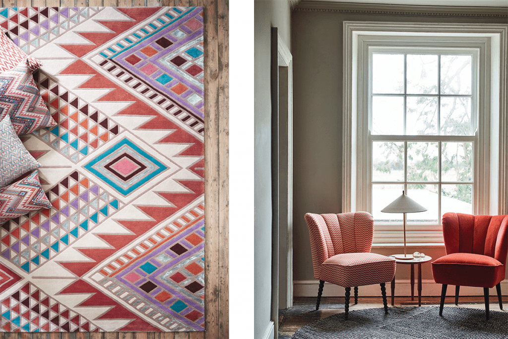 on the left is a tribal print rug with scatter cushions on top. On the right is a separate image of two orange and red slipper chairs in front of a large white window. There's a table between the chairs with a lamp.
