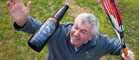 Eden Brewery boss Paul Miller 'serves' his Grand Slam beer.