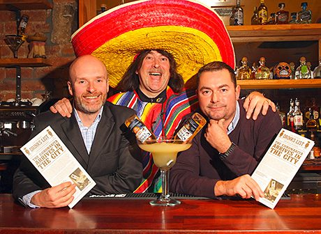 • Three amigos: Brian Fulton, Donald MacLeod and Carlo Citti with the Coronarita – one of many Mexican-inspired drinks on offer at Juan Chihuahua.