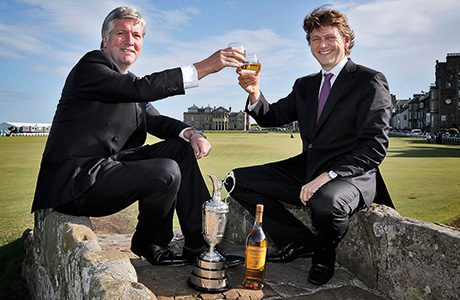 • An Old Course dram: Glenmorangie CEO Marc Hoellinger (right) with Michael Tate of The R&A.