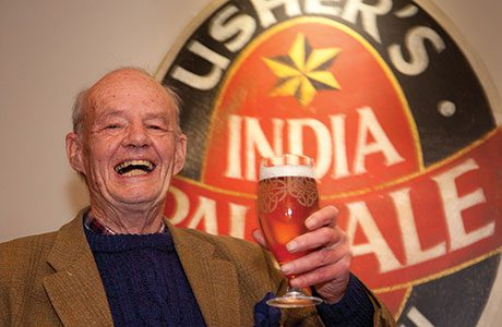 • Cheers: Stuart Usher toasts the first pint.