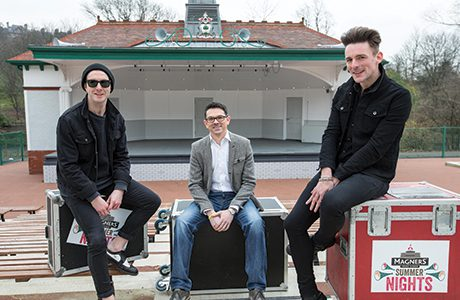 Line Up for the second Magners Summer Nights festival unveiled Pic shows James Allan and Rab Allan with Paul Condron Magners marketing director (center) Pic Peter Devlin