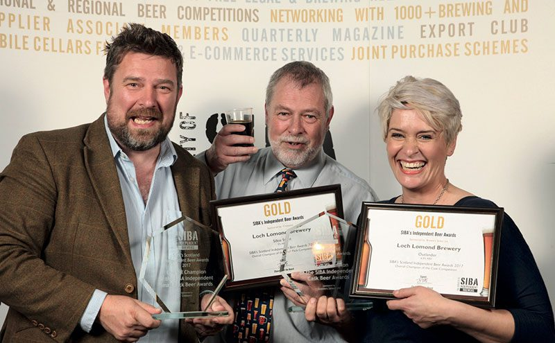 Loch Lomond's George Wotherspoon (left) and Fiona MacEachern with SIBA's Guy