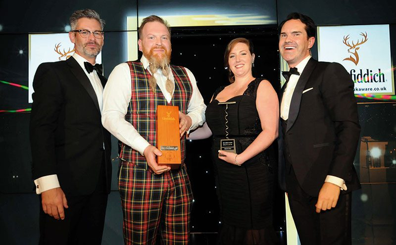 Frank (second left) and Geraldine collect their award at the SLTN Awards