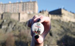 golf ball in front of Edinburgh Castle