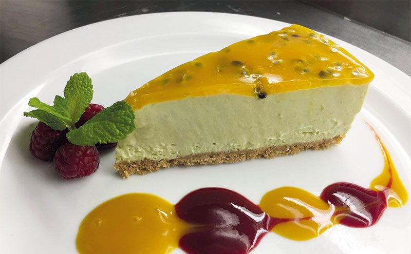 Avocado, passion fruit and mango cheesecake