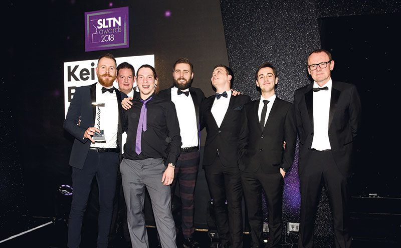 Chris Nicol (left) and the team picking up the SLTN Craft Beer Award last November for Shilling Brewing Company