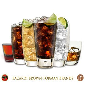 Glasses of Bacardi Rum Drinks