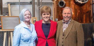 Dale-and-Vicky-McQueen-with-First-Minister-Nicola-Sturgeon-at-McQueen-Gin-Distillery