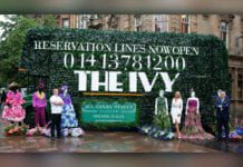 The Ivy Buchanan Street, bus covered in ivy with mannequins dressed in floral attire