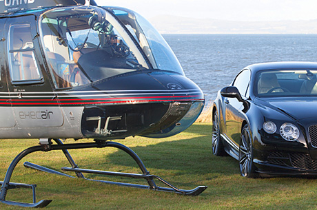 Brides with a head for heights (and a large budget) can hire a helicopter from HG Helicopters to beat the traffic and make the entrance of all entrances