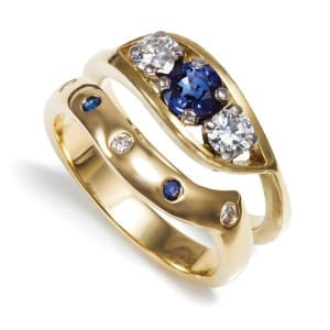 8ct yellow gold sapphire and diamond engagement and wedding rings, POA, The Ringmaker