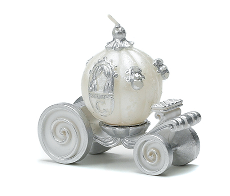 Adorn your tables with these delightful carriage candles. Cinderella Wedding Carriage Candle, £2.49, www.confetti.co.uk