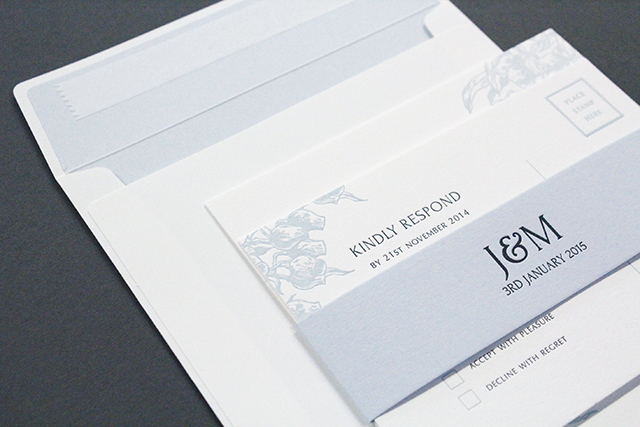 Response card Including one of these makes it easier for guests to RSVP. Bespoke letterpress invitation suite, POA, The Hunter Press