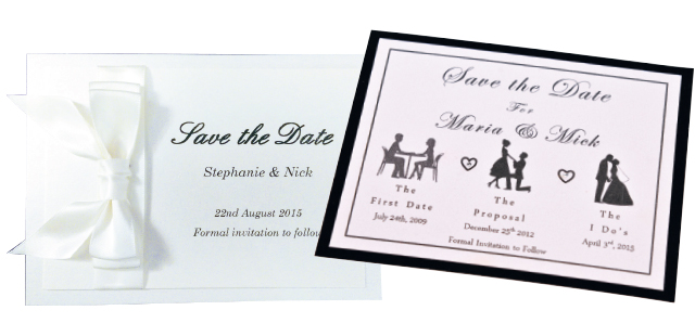 Left: Classic double-layer bow save the date, £1.10, Purple Willow Gifts Right: Our Story save the date depicting a couple's story from first date to proposal and onto the big day, £2, Dolly-Bird