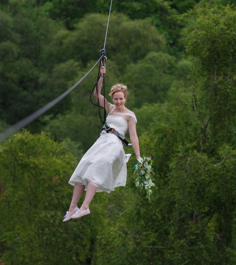 Fearless bride Colette Gregory swings into action