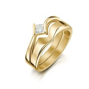 Diamond engagement ring, from £1128 in 9ct yellow gold, with fit-in band, from £353, Sheila Fleet