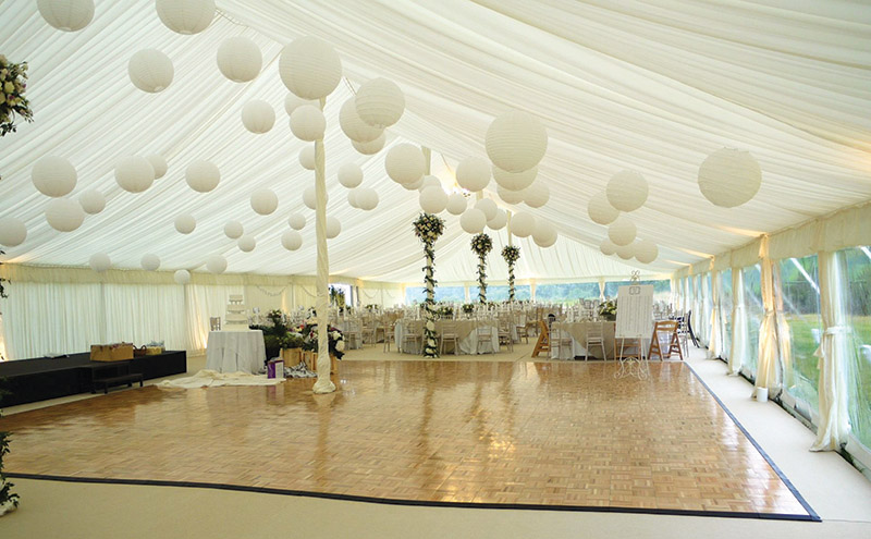 A clear wall on this Tents and Events marquee makes the most of the surrounding views
