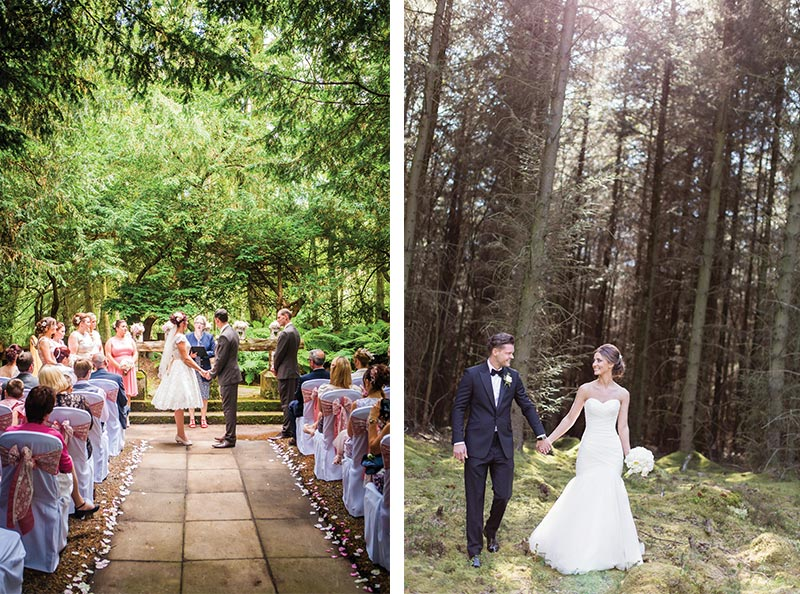 couples getting married in the woods