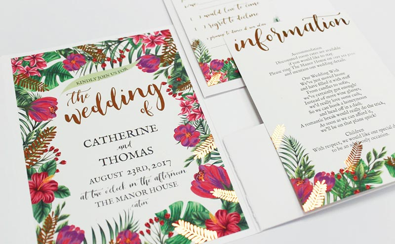 Tropical invitation with calligraphy