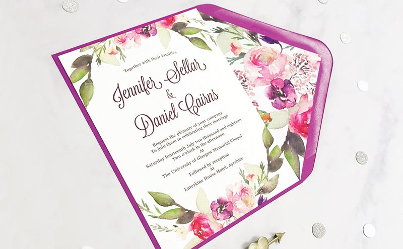 floral invitation and envelope