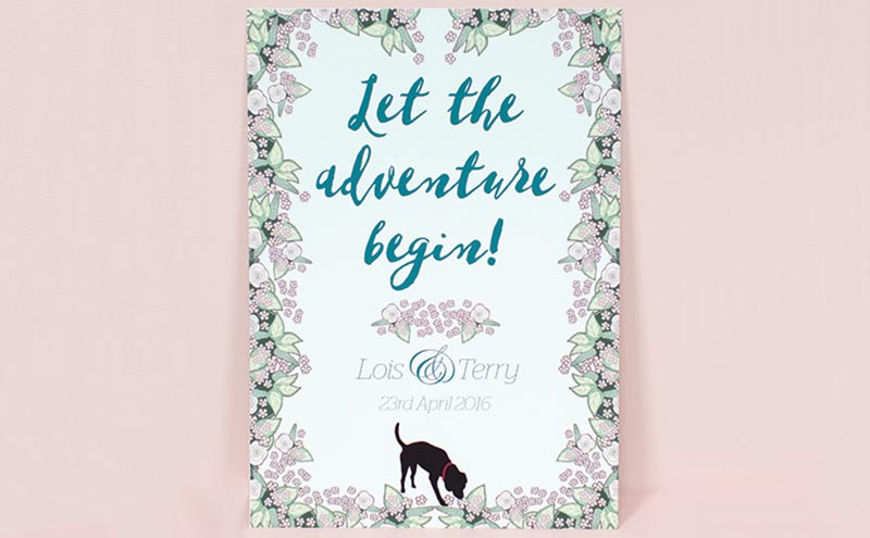 Floral and dog invitation