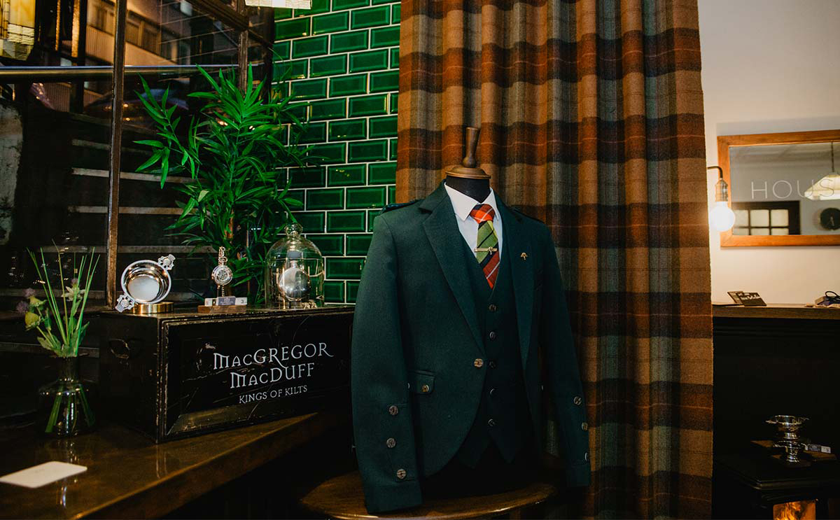 Tweed jacket and waistcoat on display at House Martin Barbers