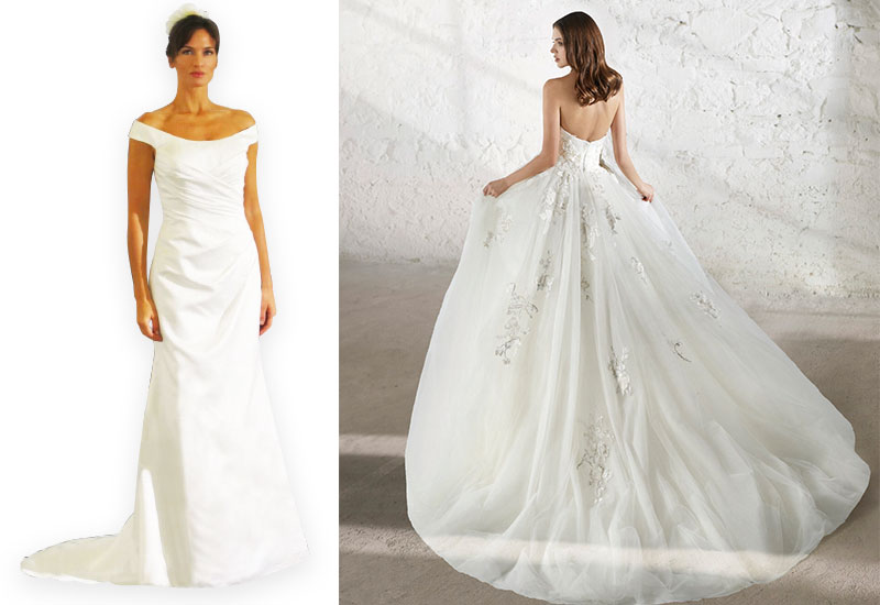 [Above left] Style D5625 by Eternity Bridal, £POA [Above right] Eleanora gown by Modeca, £POA, both Bridal Boutique at Frox of Falkirk