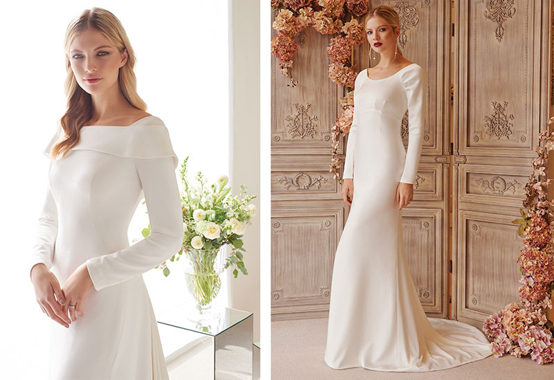 [Above left] Valentina gown with off-the-shoulder neckline, £POA [Above right] Dina silk satin fit-and-flare gown, £POA, both Joyce Young Design Studios