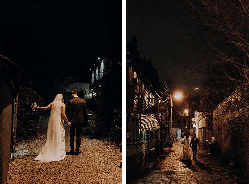 bride and groom in lane