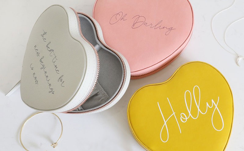 Personalised heart travel jewellery case