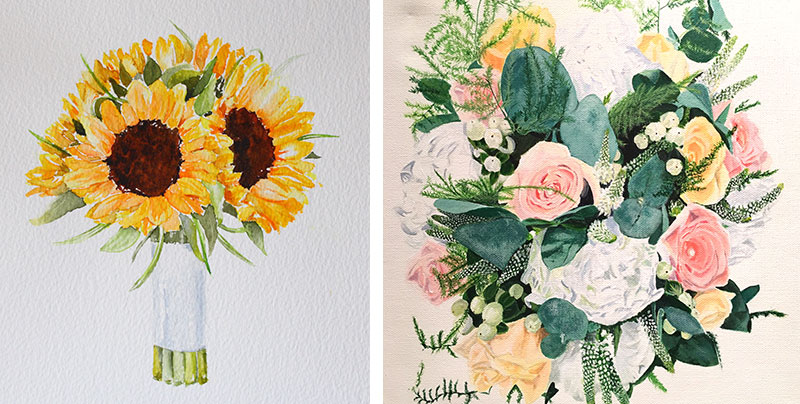 Evelyn's watercolour bouquets
